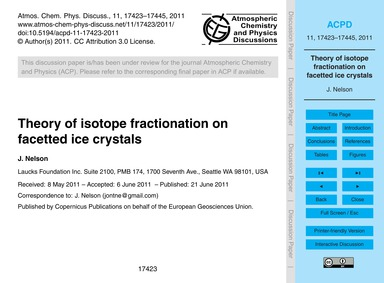 Theory of Isotope Fractionation on Facet... by Nelson, J.