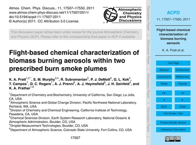 Flight-based Chemical Characterization o... by Pratt, K. A.