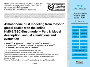 Atmospheric Dust Modeling from Meso to G... by Pérez, C.