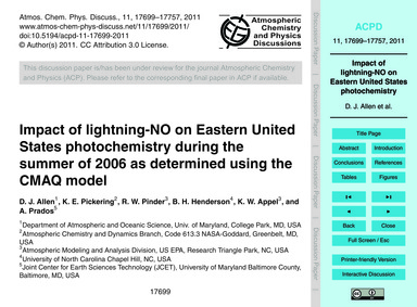 Impact of Lightning-no on Eastern United... by Allen, D. J.