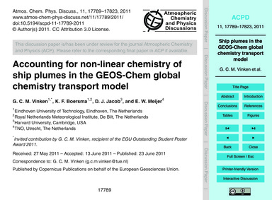 Accounting for Non-linear Chemistry of S... by Vinken, G. C. M.