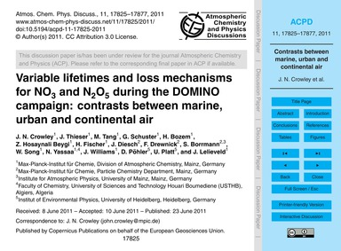 Variable Lifetimes and Loss Mechanisms f... by Crowley, J. N.