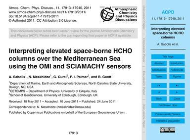 Interpreting Elevated Space-borne Hcho C... by Sabolis, A.