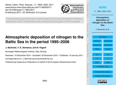 Atmospheric Deposition of Nitrogen to th... by Bartnicki, J.