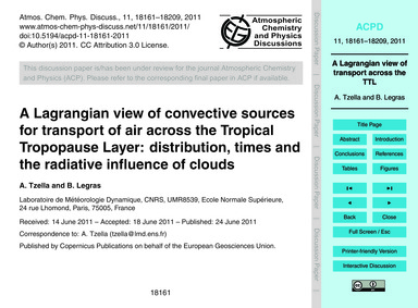 A Lagrangian View of Convective Sources ... by Tzella, A.