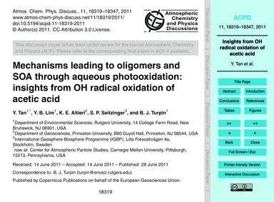 Mechanisms Leading to Oligomers and Soa ... by Tan, Y.