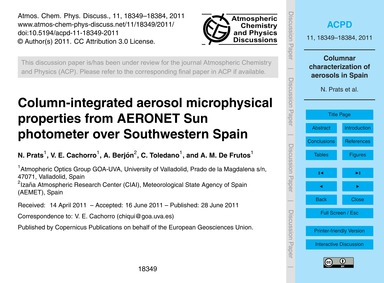 Column-integrated Aerosol Microphysical ... by Prats, N.