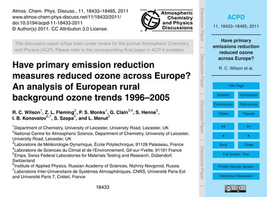 Have Primary Emission Reduction Measures... by Wilson, R. C.