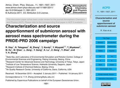Characterization and Source Apportionmen... by Xiao, R.