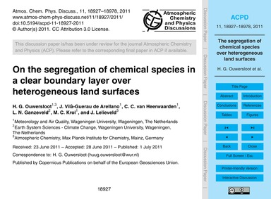 On the Segregation of Chemical Species i... by Ouwersloot, H. G.