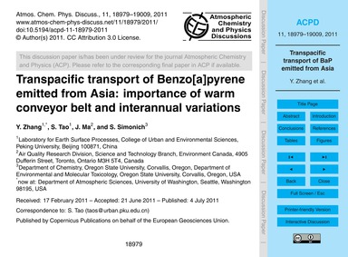 Transpacific Transport of Benzo[a]pyrene... by Zhang, Y.