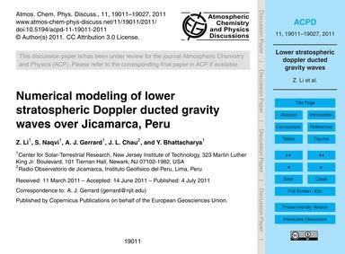 Numerical Modeling of Lower Stratospheri... by Li, Z.