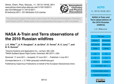 Nasa A-train and Terra Observations of t... by Witte, J. C.