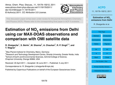 Estimation of NoX Emissions from Delhi U... by Shaiganfar, R.
