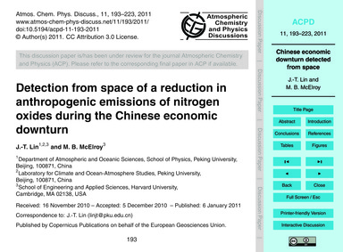 Detection from Space of a Reduction in A... by Lin, J.-t.
