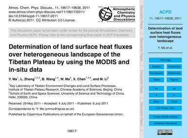 Determination of Land Surface Heat Fluxe... by Ma, Y.