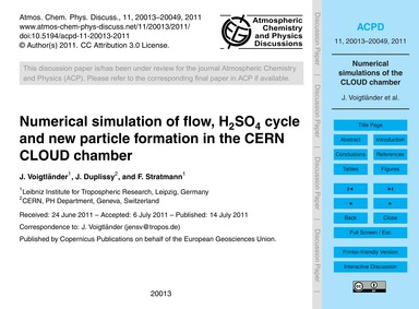 Numerical Simulation of Flow, H2So4 Cycl... by Voigtländer, J.