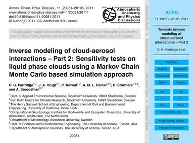 Inverse Modeling of Cloud-aerosol Intera... by Partridge, D. G.