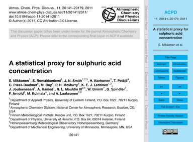 A Statistical Proxy for Sulphuric Acid C... by Mikkonen, S.