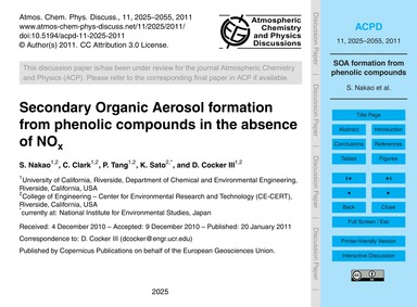 Secondary Organic Aerosol Formation from... by Nakao, S.
