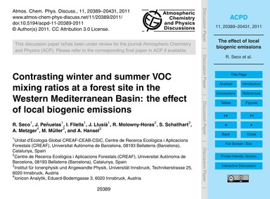 Contrasting Winter and Summer Voc Mixing... by Seco, R.