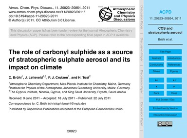 The Role of Carbonyl Sulphide as a Sourc... by Brühl, C.