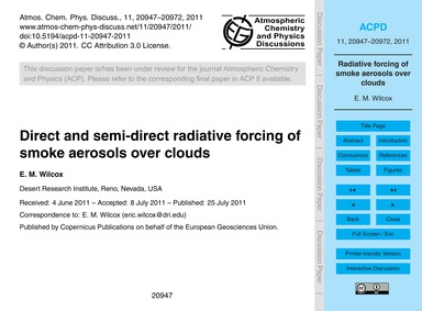 Direct and Semi-direct Radiative Forcing... by Wilcox, E. M.