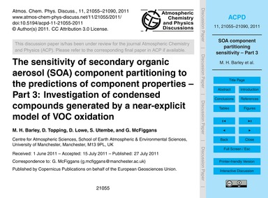 The Sensitivity of Secondary Organic Aer... by Barley, M. H.