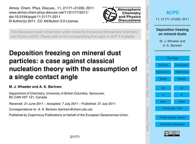 Deposition Freezing on Mineral Dust Part... by Wheeler, M. J.
