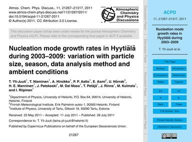 Nucleation Mode Growth Rates in Hyytiälä... by Yli-juuti, T.