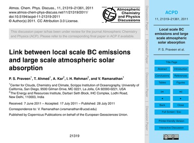 Link Between Local Scale Bc Emissions an... by Praveen, P. S.