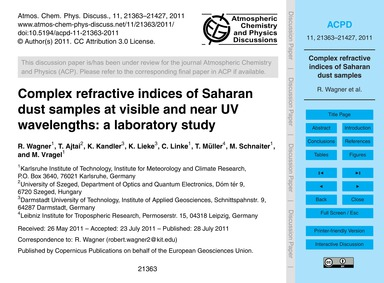 Complex Refractive Indices of Saharan Du... by Wagner, R.