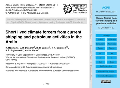 Short Lived Climate Forcers from Current... by Ødemark, K.