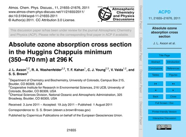 Absolute Ozone Absorption Cross Section ... by Axson, J. L.