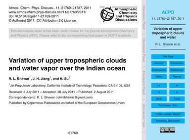 Variation of Upper Tropospheric Clouds a... by Bhawar, R. L.