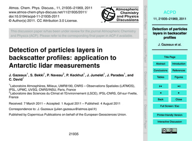 Detection of Particles Layers in Backsca... by Gazeaux, J.