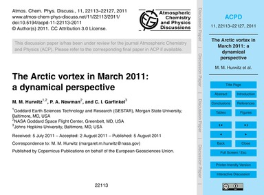 The Arctic Vortex in March 2011: a Dynam... by Hurwitz, M. M.