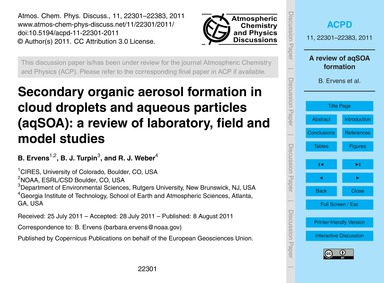 Secondary Organic Aerosol Formation in C... by Ervens, B.