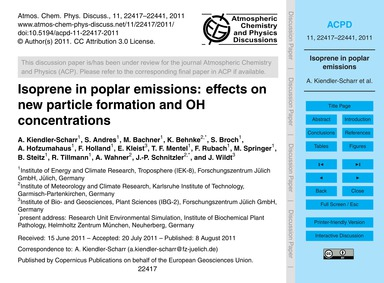 Isoprene in Poplar Emissions: Effects on... by Kiendler-scharr, A.