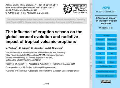 The Influence of Eruption Season on the ... by Toohey, M.