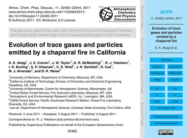 Evolution of Trace Gases and Particles E... by Akagi, S. K.