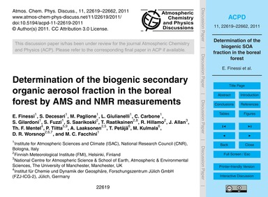 Determination of the Biogenic Secondary ... by Finessi, E.