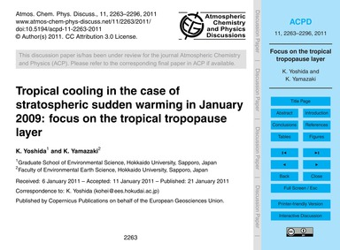 Tropical Cooling in the Case of Stratosp... by Yoshida, K.