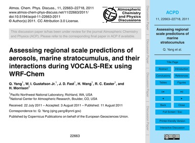 Assessing Regional Scale Predictions of ... by Yang, Q.