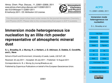 Immersion Mode Heterogeneous Ice Nucleat... by Broadley, S. L.