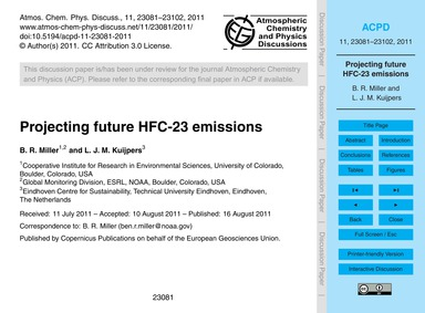 Projecting Future Hfc-23 Emissions : Vol... by Miller, B. R.