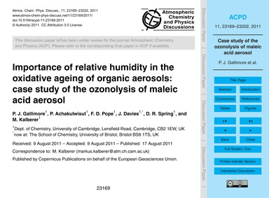 Importance of Relative Humidity in the O... by Gallimore, P. J.