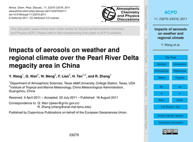 Impacts of Aerosols on Weather and Regio... by Wang, Y.