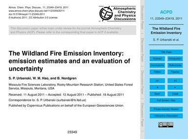 The Wildland Fire Emission Inventory: Em... by Urbanski, S. P.