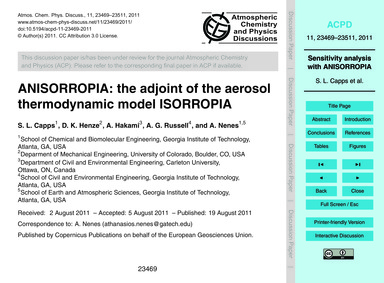 Anisorropia: the Adjoint of the Aerosol ... by Capps, S. L.